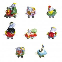 Série complète de 8 fèves - Babar en voyage - Année 2005