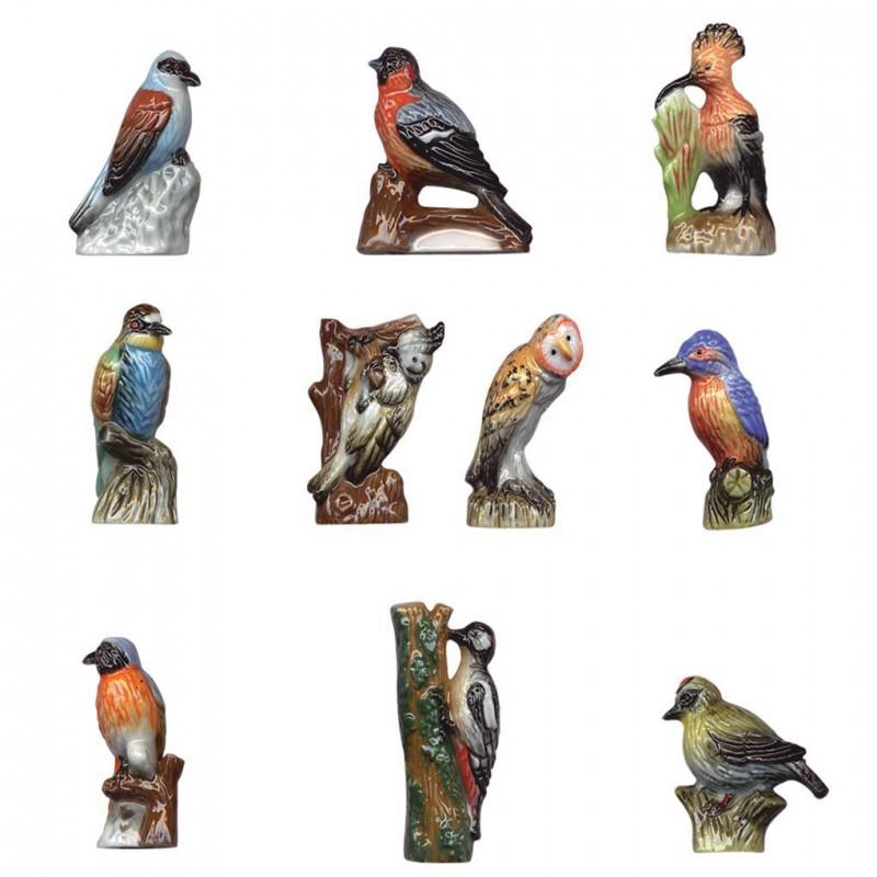 Becs et plumes des bois - Série complète de 10 fèves brillantes - 2006