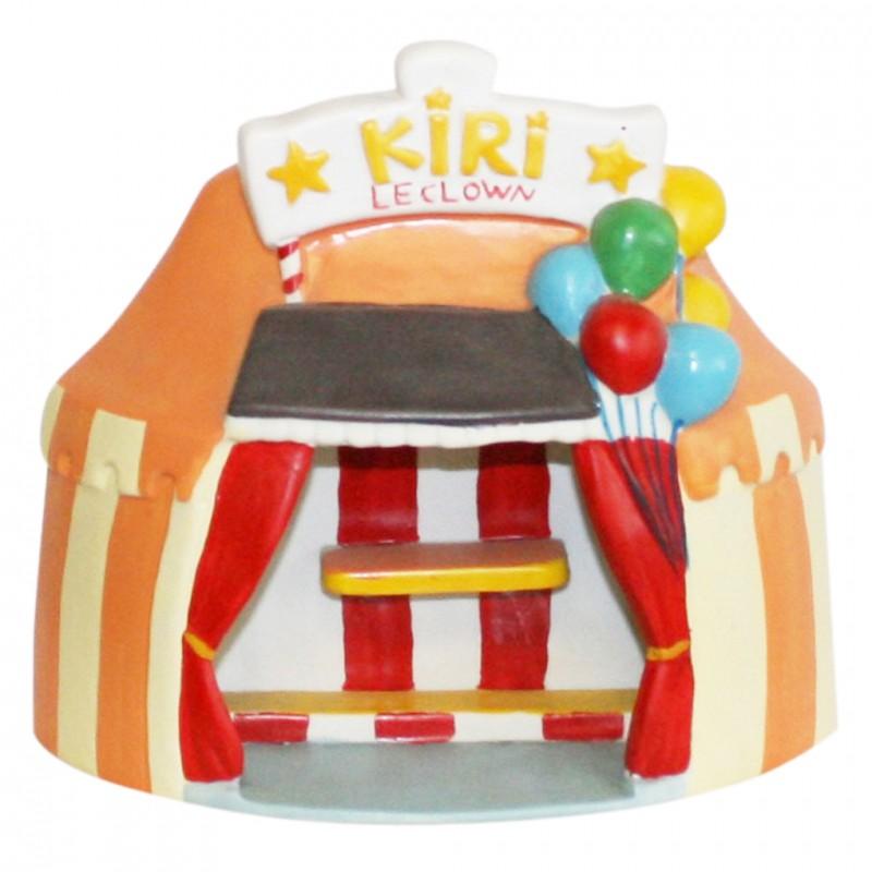 Présentoir Kiri le clown en porcelaine peinte à la main pour série de fèves sur le cirque