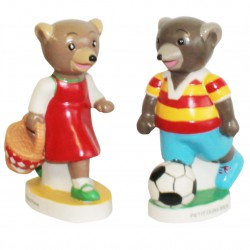 Petit ours brun - Grand sujet en porcelaine peinte à la main