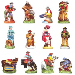 Western et cow boys - Série complète de 12 fèves briillantes - Année 2008