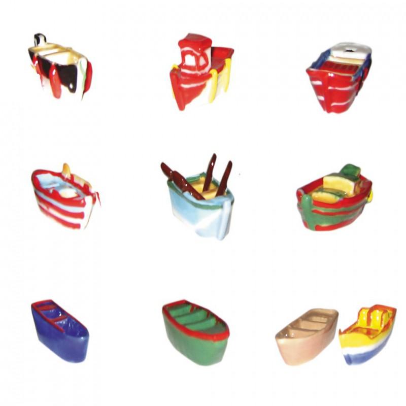 Petites barques colorées - Série complète de 10 fèves brillantes - Année 2007