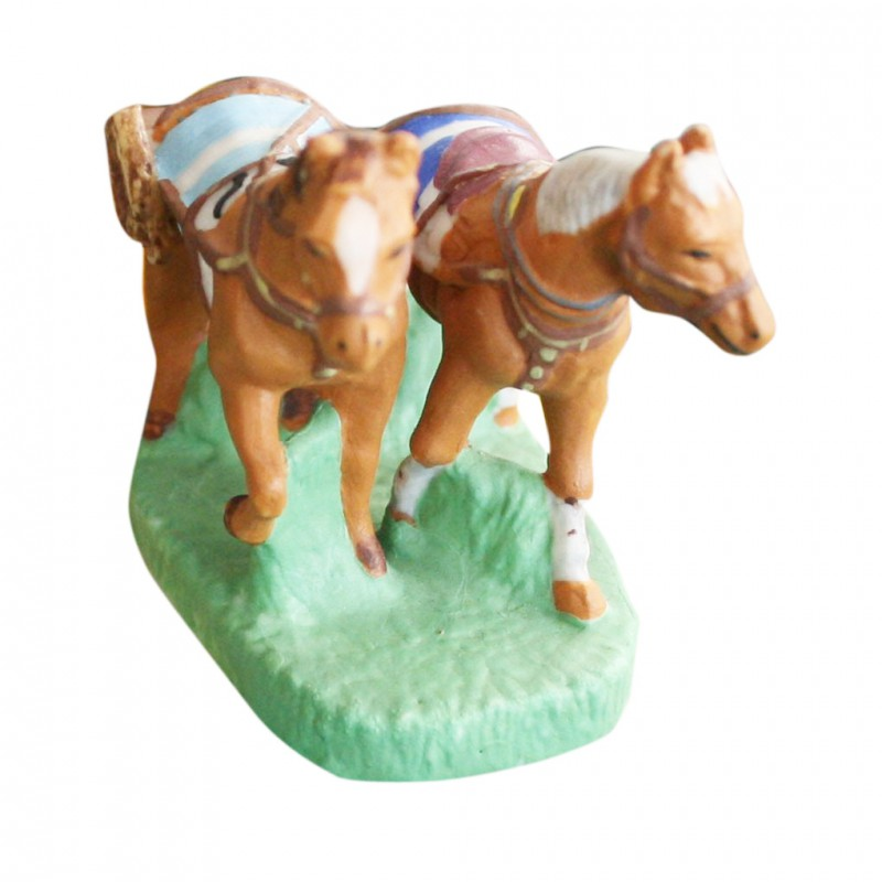 Attelage chevaux - Grand modèle en porcelaine mate peinte à la main