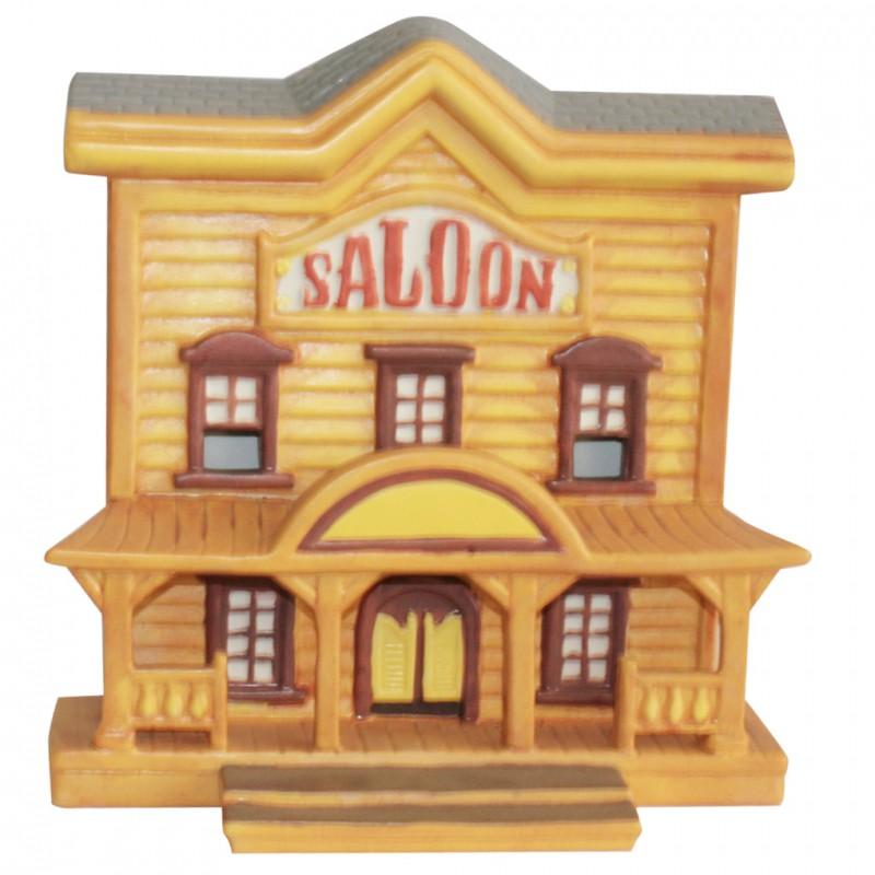 Saloon - Grand modèle en porcelaine mate peinte à la main