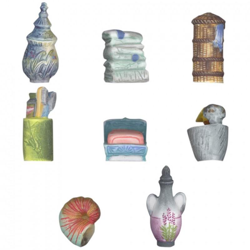 La salle de bains - Série complète de 8 fèves Mates - Année 2003