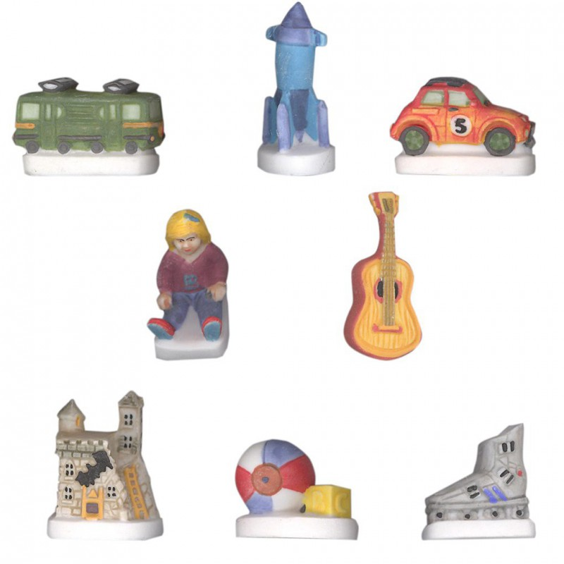 La salle de jeux - Série complète de 8 fèves Mates - Année 2004