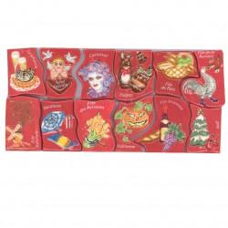Puzzle Année de fêtes - Série complète de 12 fèves brillantes - Année 2008
