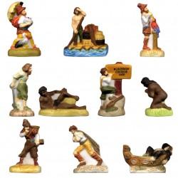 Robinson Crusoé - Série complète de 10 fèves mates - Année 2009