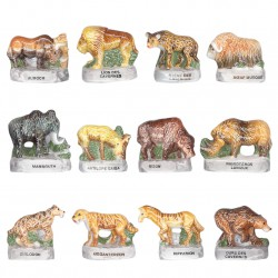 Animaux préhistoriques - Série complète de 12 fèves brillantes - Année 2007