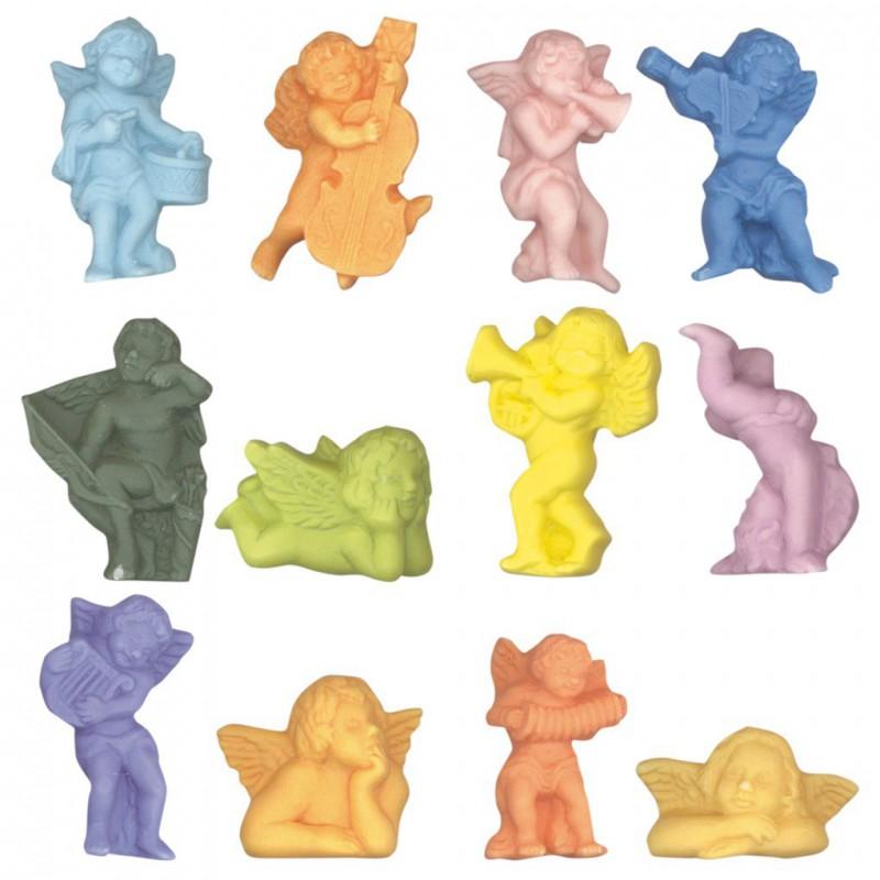 Petits anges colorés - Série complète de 12 fèves mates - Année 2008
