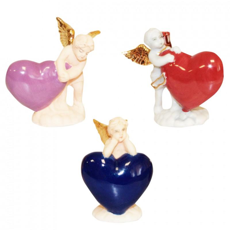 Trois cœurs or/brillants/mates portés par de magnifiques petits anges