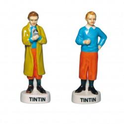 Miniatures du célèbre personnage de Tintin en porcelaine peinte à la main