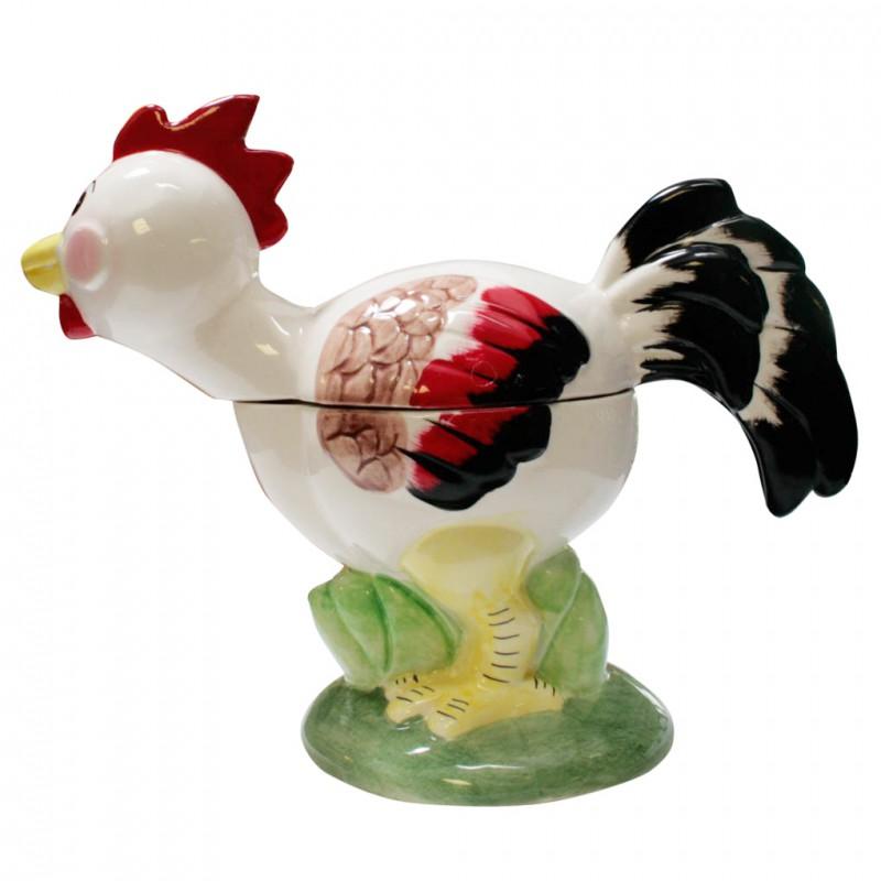 Poule des Titous, bonbonnière en porcelaine brillante peinte à la main