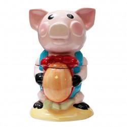 Cochon des Titous - Bonbonnière en porcelaine brillante peinte à la main