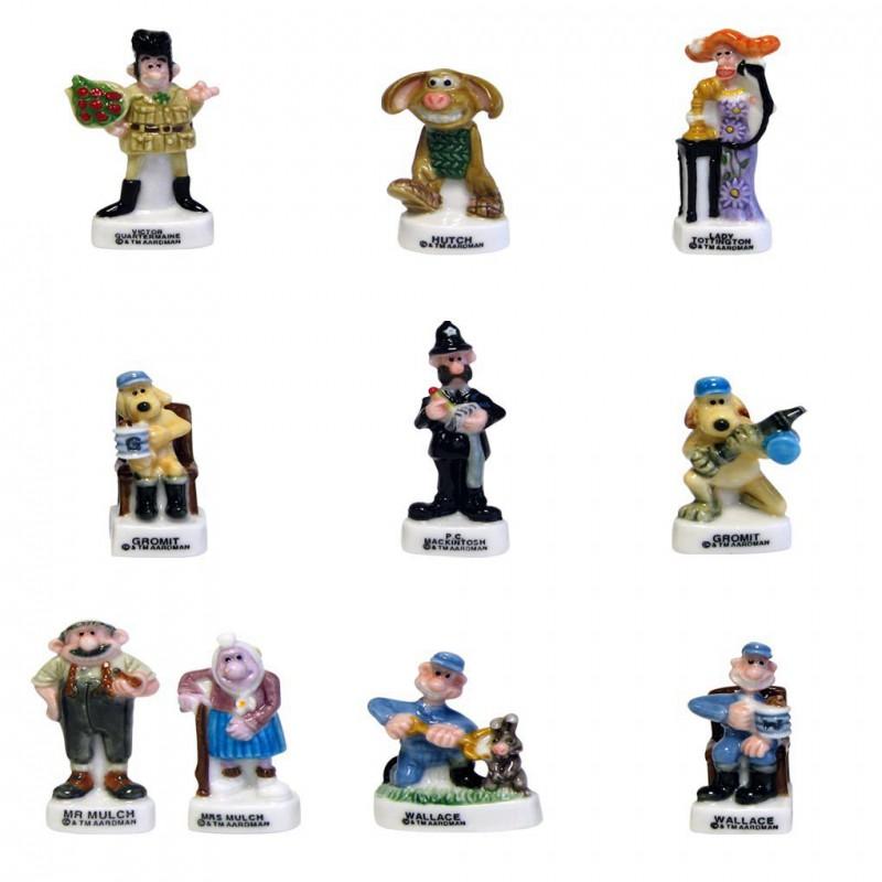 Walace et Gromit - Série complète de 10 fèves brillantes - Année 2006