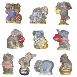 Eléphants nacrés - Série complète de 10 fèves or, mates - Année 2009