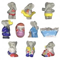 Babar bébé - Série complète de 10 fèves brillantes - Année 2009