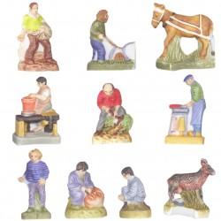 Le travail de la terre - Série complète de 10 fèves mates - Année 2008