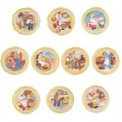 Assiettes murales - Série complète de 10 fèves brillantes - Année 2007