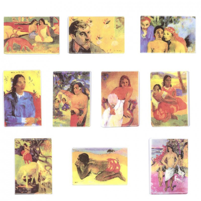 Les oeuvres de Gauguin - Série complète de 10 fèves brillante - Année 2007