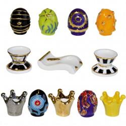 Coquetiers et œufs luxueux - Série complète de 12 fèves or et brillantes - Année 2009