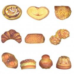 Délicieuses viennoiseries - Série complète de 10 fèves brillantes - Année 2009