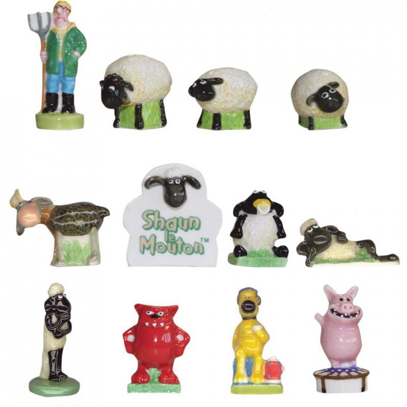 Shaun le mouton - Série complète de 12 fèves brillantes - Année 2008