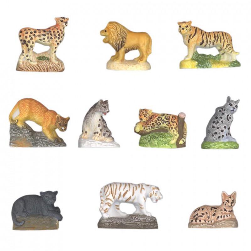Les grands félins - Série complète de 10 fèves mates - Année 2011