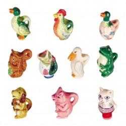 Pichets animaux - Série complète de 10 fèves brillantes - Année 2005
