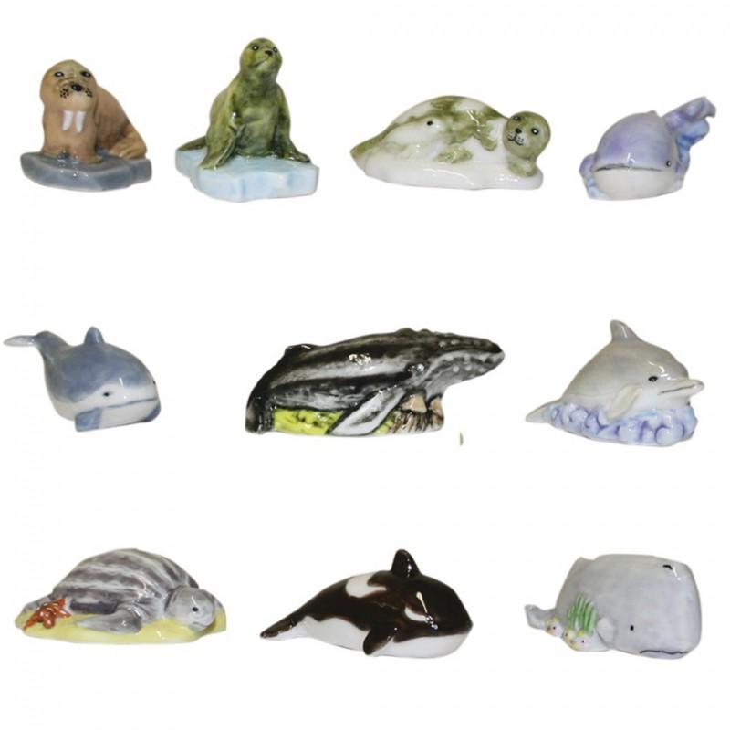 Animaux marins - Série complète de 10 fèves brillantes - Année 2008