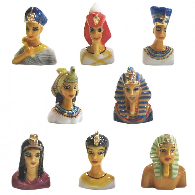 Rois et reines d'Égypte - Série complète de 8 fèves or, brillantes - Année 2007