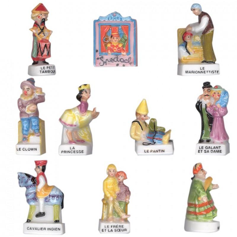 Les marionnettes - Série complète de 10 fèves brillantes - Année 2005