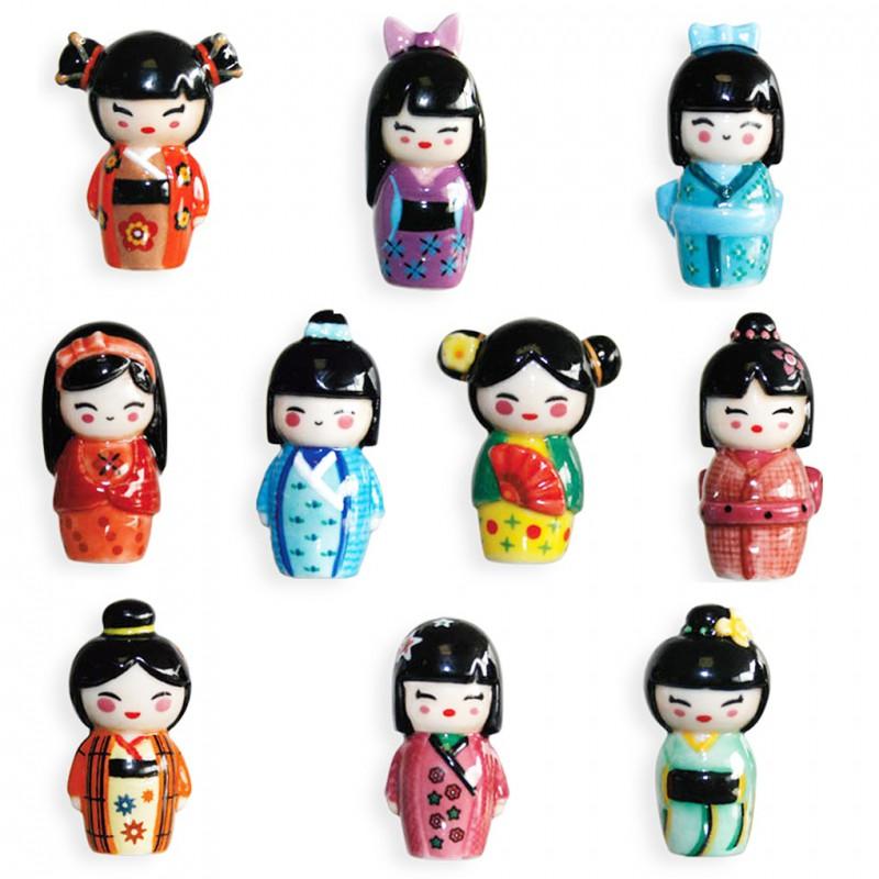 Poupées japonaises - Série complète de 10 fèves brillantes - Année 2016
