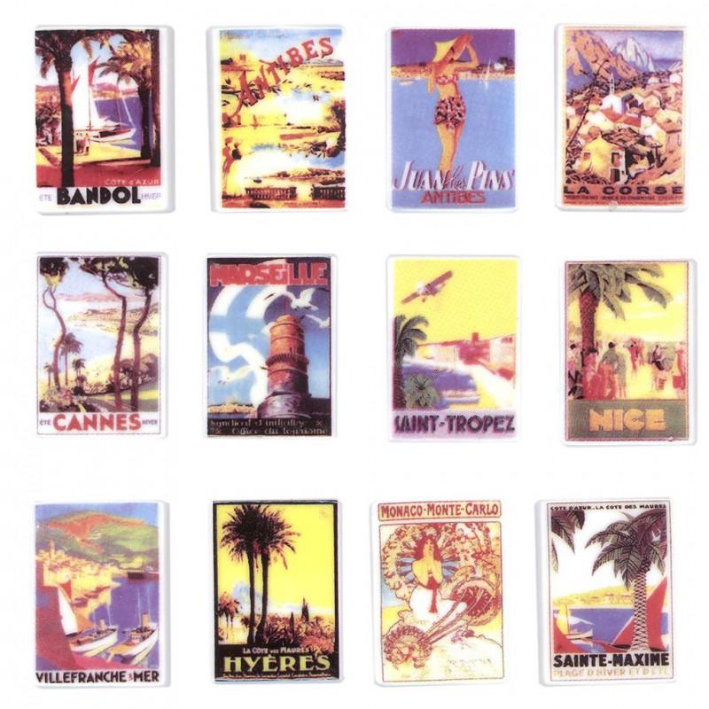 Villégiature en côte d'Azur - Série complète de 12 fèves brillantes - Année 2006