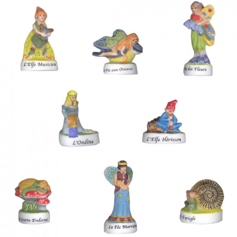 Fées, elfes et lutins - Série complète de 8 fèves mates - Année 2004