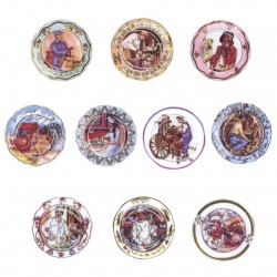 Assiettes décoratives - Série complète de 10 fèves brillantes - Année 2004