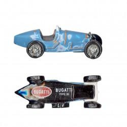 Voiture mythique de la marque Bugatti type 35 en porcelaine peinte à la main