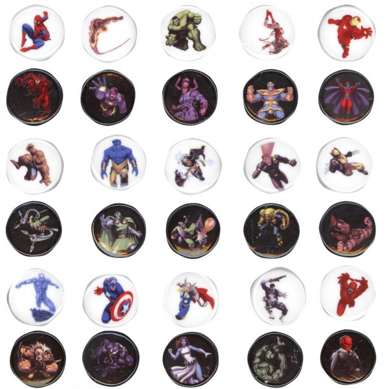 Jeu de Marvel - Série complète de 30 fèves brillantes - Année 2009