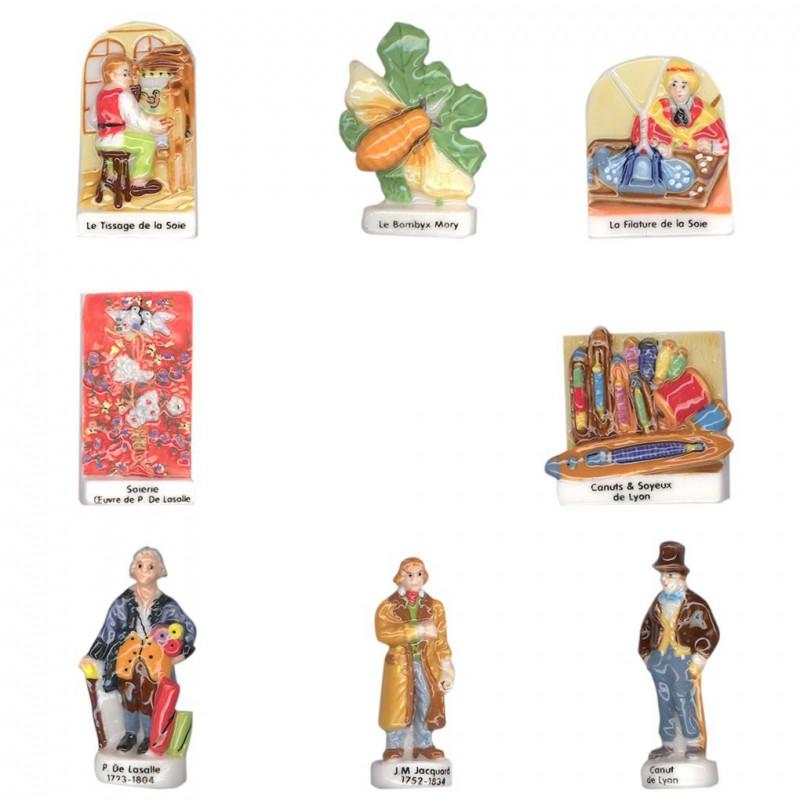 Les soyeux de Canuts de Lyon - Série complète de 8 fèves brillantes - Année 2007
