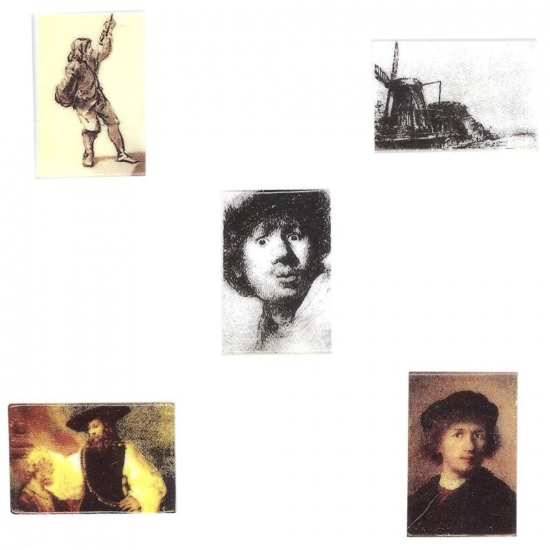 Les œuvres de Rembrandt - Série complète de 5 fèves brillantes - Année 2007