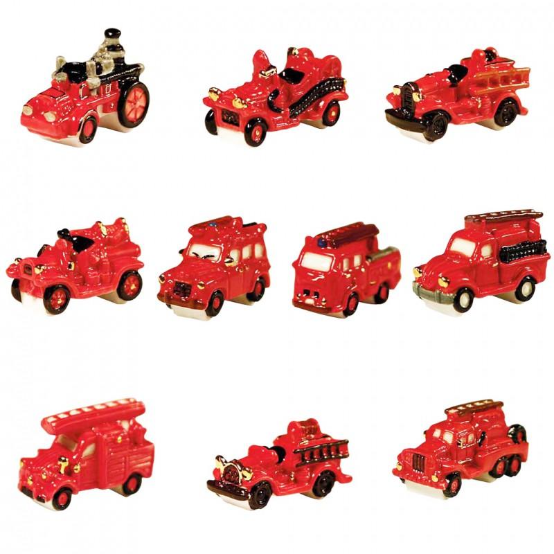 Camions de pompiers rétros II - Série complète de 10 fèves or, brillantes - Année 2012