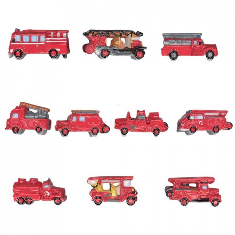Anciens véhicules de feu - Série complète de 10 fèves brillantes - Année 2011