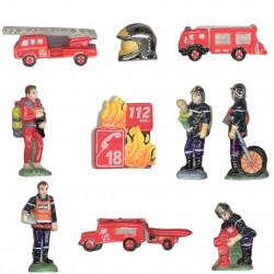 Au feu les pompiers - Série complète de 10 fèves platines/brillantes - Année 2011