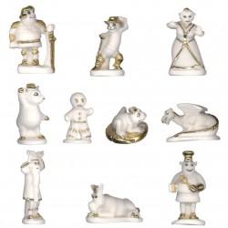Shrek tout de blanc - Série complète de 10 fèves or, mates - Année 2009
