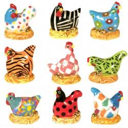 Poules aux œufs d'or - Série complète de 12 fèves or/brillantes - Année 2012