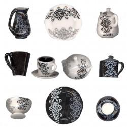 Service black and white - Série complète de 12 fèves brillantes - Année 2011