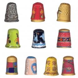 Dés à coudre - Série complète de 8 fèves or, brillantes - Année 2010