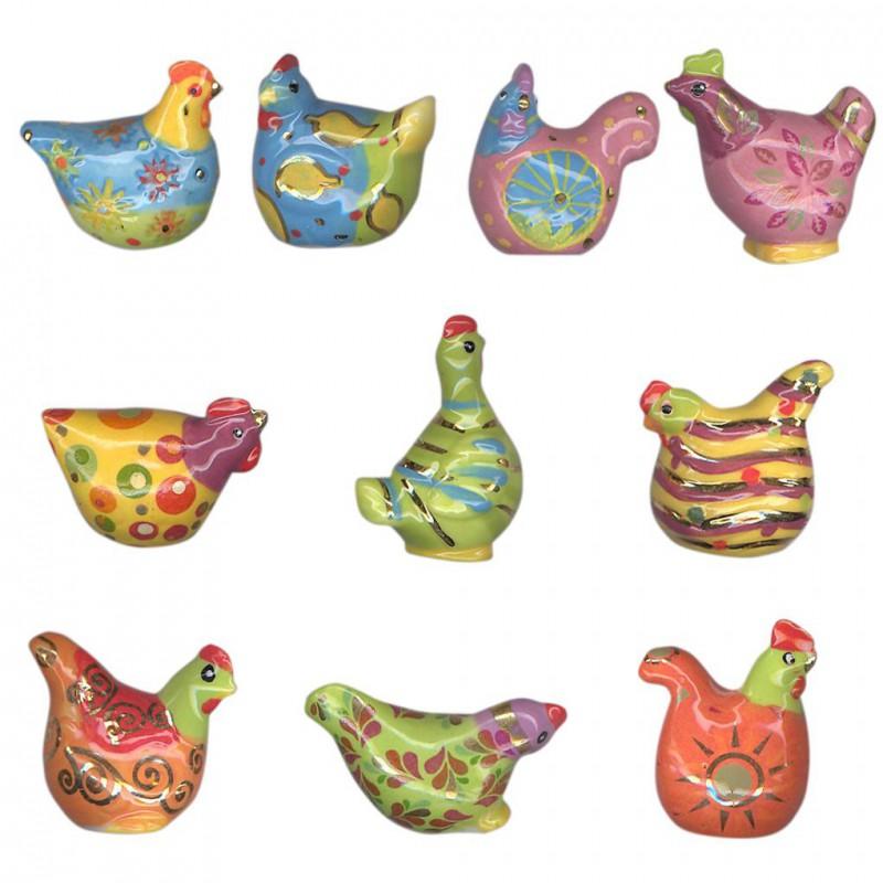 Poules design - Série complète de 10 fèves or/brillantes - Année 2011