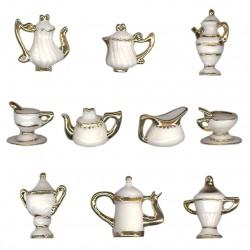 Service porcelaine or - Série complète de 10 fèves or/brillantes - Année 2000