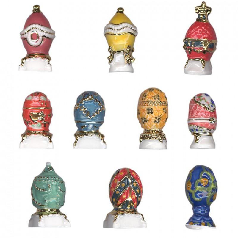 Oeufs Fabergé - Série complète de 10 fèves or/brillantes - Année 2010